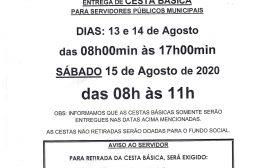 ENTREGA DE CESTA BÁSICA/RECARGA CARTÃO ALIMENTAÇÃO - AGOSTO